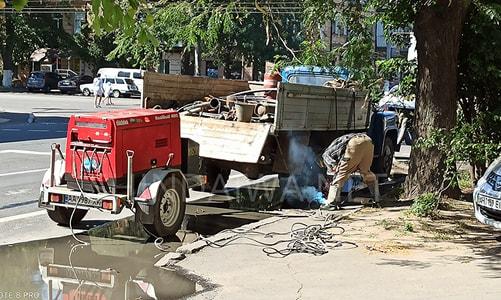 Пример размещения сварочного агрегата очень близко к месту работ