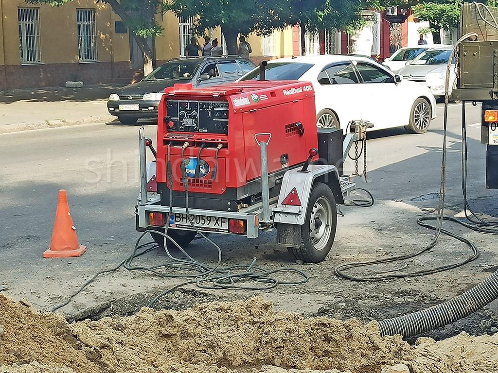 Сварочный агрегат Shindaiwa при выполнении ремонта магистрального водопровода