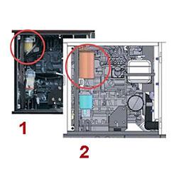 Сравнение обычного фильтра (1) и фильтра DG45MK-400 (2)