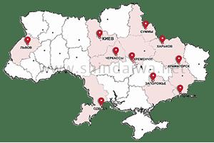 Карта распространения японского сварочного оборудования Shindaiwa по регионам Украины