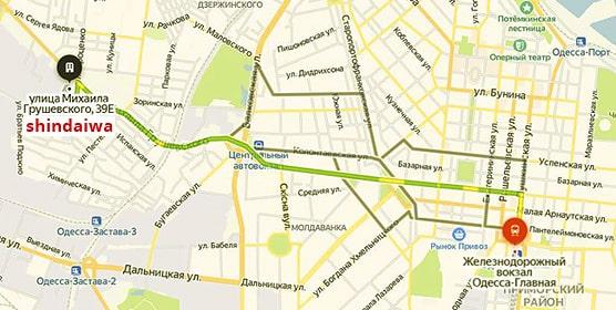 Схема поезда к офису Shindaiwa в Одессе от ж/д Вокзала